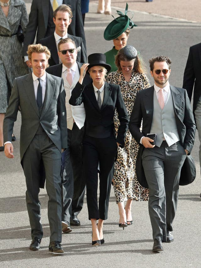 Cara Delevingne Centre Arrives For The Wedding Andrew Matthews Pa