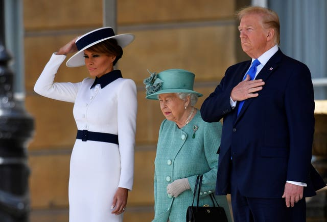 Donald and Melania Trump with the Queen