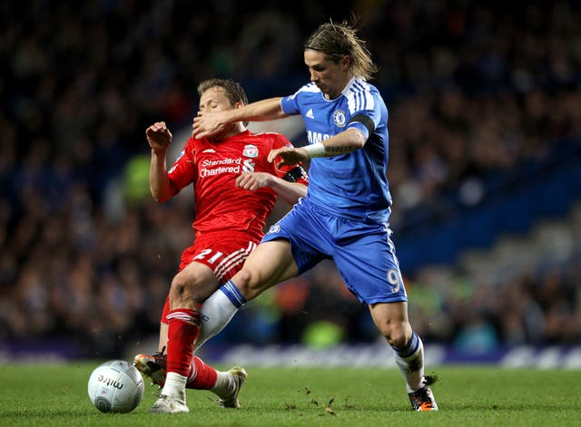 Torres was reunited with Liverpool and Lucas Leiva in a League Cup quarter-final in November 2011