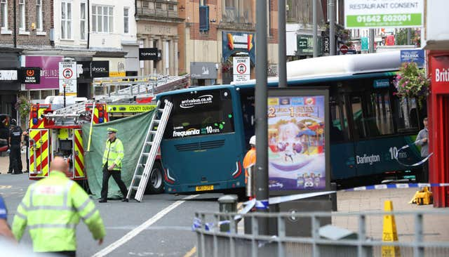 The scene of the bus incident in Darlington where an elderly female pedestrian died (Owen Humphreys/PA)