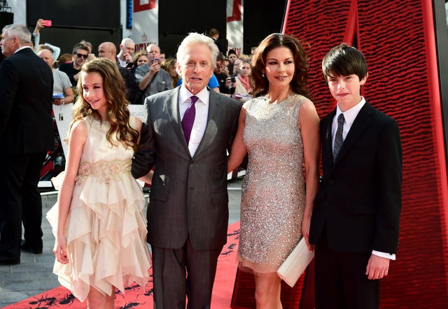 Michael Douglas, Catherine Zeta-Jones, son Dylan and daughter Carys (Ian West/PA)