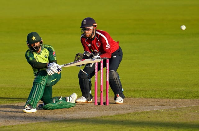 Pakistan's Mohammad Hafeez hits for four at Old Trafford