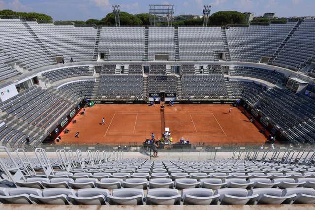 Novak Djokovic and Filip Krajinovic play at an empty Foro Italico