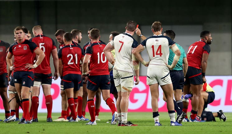 John Quill gets his marching orders following his illegal challenge on Owen Farrell