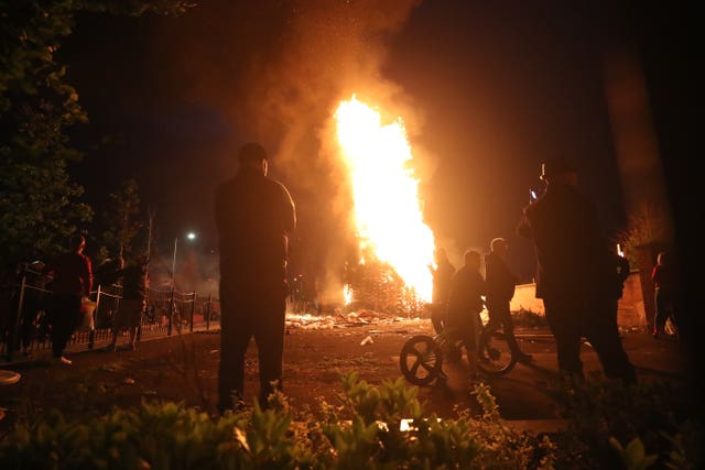 A bonfire on Belfast's Lower Newtownards Road