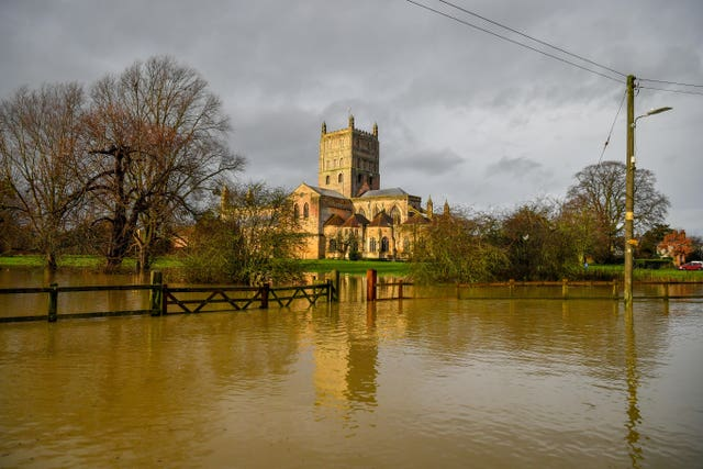 Flood watches are in place at Tewkesbury Abbey (Ben Birchall/PA)