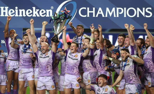 Exeter Chiefs celebrate with the European Champions Cup trophy