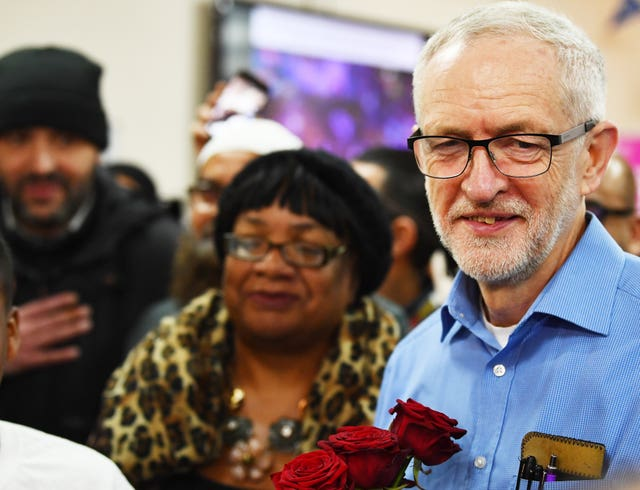 Shadow home secretary Diane Abbott and Jeremy Corbyn at the mosque