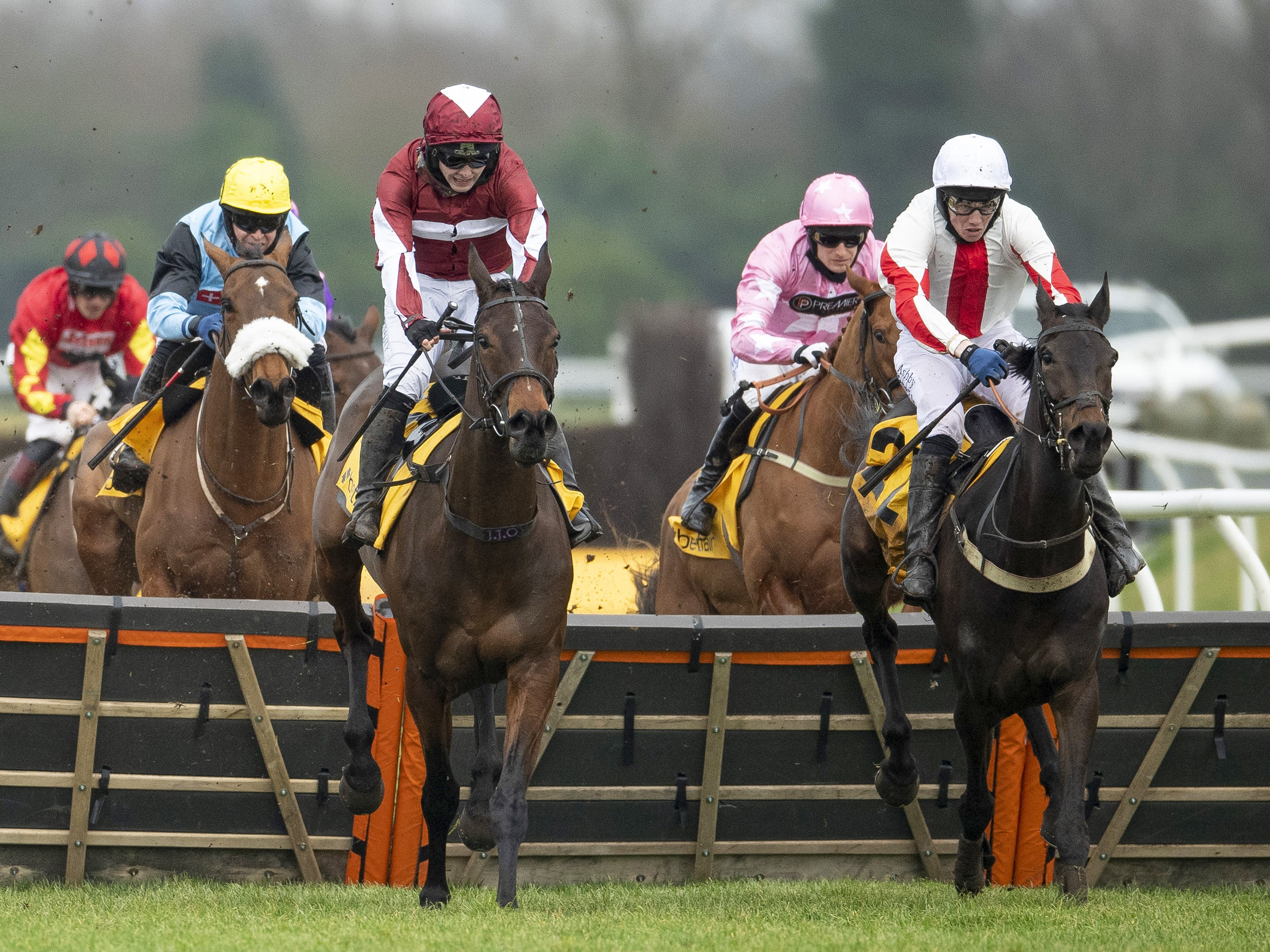 Soaring Glory (centre) clears the final flight in the Betfair Hurdle (Alan Crowhurst/PA)