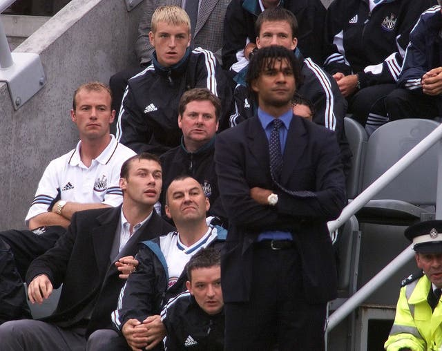 Alan Shearer (far left) and former Newcastle manager Ruud Gullit. (PA)