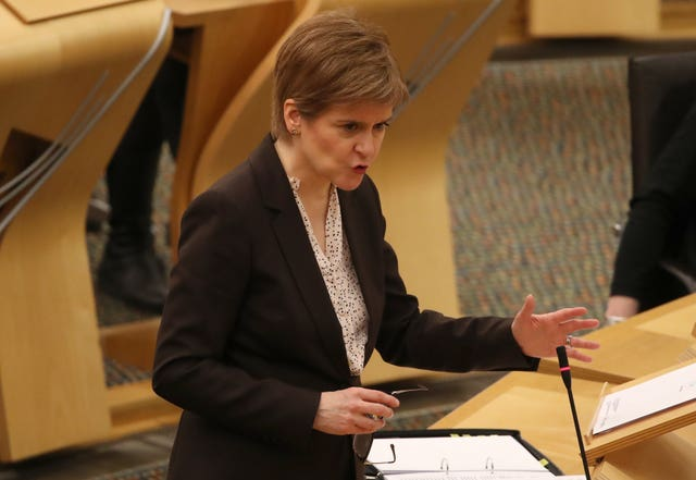 First Minister Nicola Sturgeon announces that Scotland will be placed in lockdown from midnight (PA)