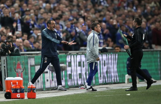Maurizio Sarri, left, was unhappy after goalkeeper Kepa Arrizabalaga refused to be substituted