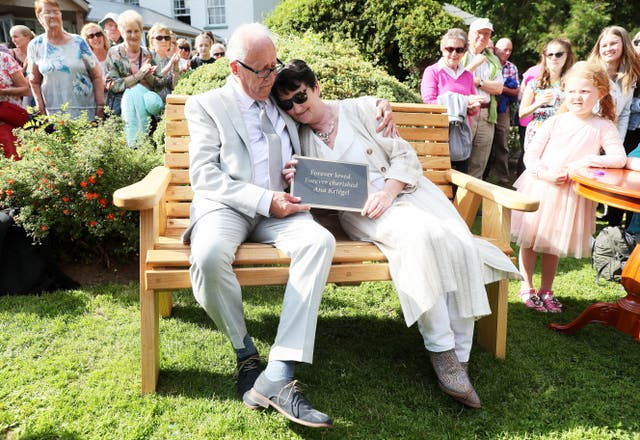 Parents Patric and Geraldine Kriegel, unveiled a bench in her memory at the Leixlip Manor Hotel, Co. Kildare (Brian Lawless/PA)