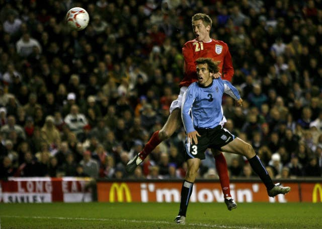 Crouch scored the first of his 22 England goals in a friendly win over Uruguay in March 2006