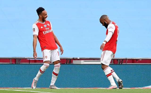 Lacazette celebrates with Aubameyang follownig his goal in the FA Cup semi-final win over Manchester City.