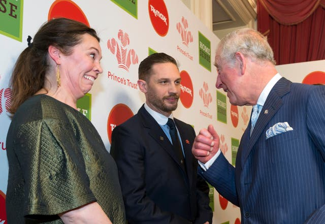 Olivia Colman listens in to the Prince's conversation with Tom Hardy (Geoff Pugh/The Daily Telegraph/PA)