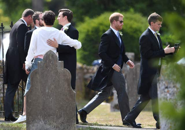 The Duke of Sussex arriving with groomsmen