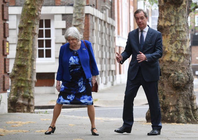 Leader of the Brexit Party Nigel Farage with former Tory minister Ann Widdecombe