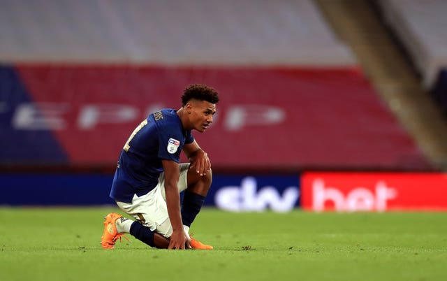 Brentford's prolific striker Ollie Watkins was left dejected after failing to fire his side to the Premier League