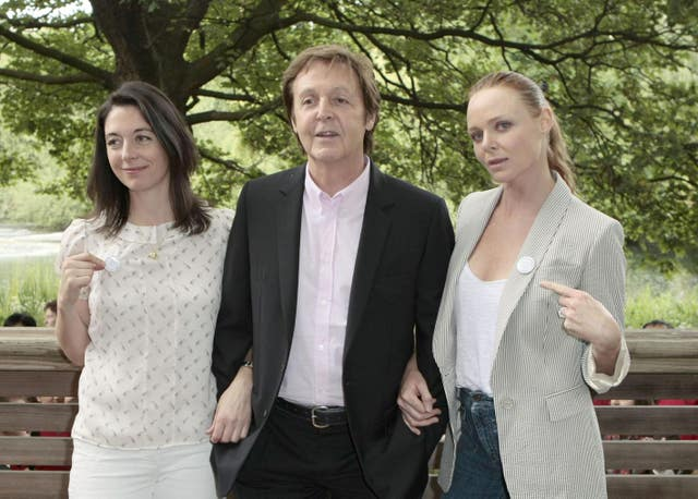 Sir Paul McCartney and his daughters Mary (left) and Stella