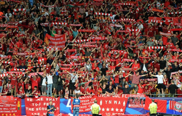 Liverpool fans in the stands during the Champions League final in Kiev (Peter Byrne/PA)