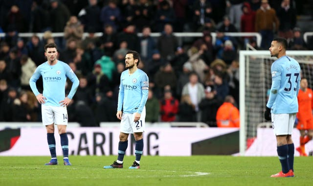 Aymeric Laporte), David Silva and Gabriel Jesus reflect on the shock defeat to Newcastle (Richard Sellers/PA).