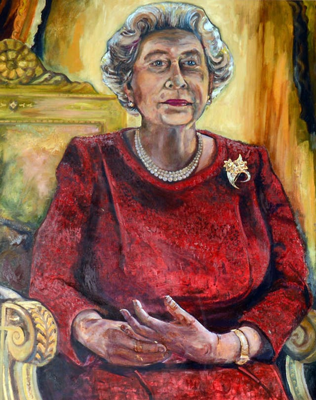 Dan Llywelyn Hall's portrait of Queen Elizabeth II (Ben Evans/WRU/PA)