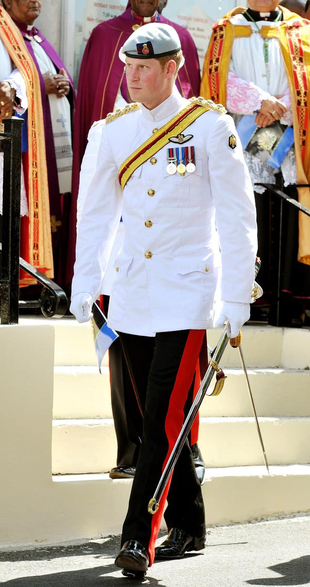 Prince Harry, wearing the 1 Tropical Dress of The Blues and Royals (John Stillwell/PA)