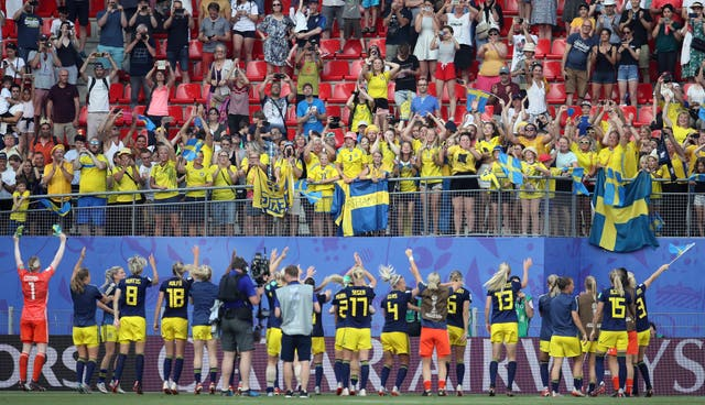 Sweden celebrate with their fans after knocking Germany out of the Women's World Cup