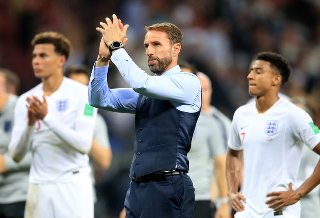 Gareth Southgate acknowledges the England supporters after the loss to Croatia