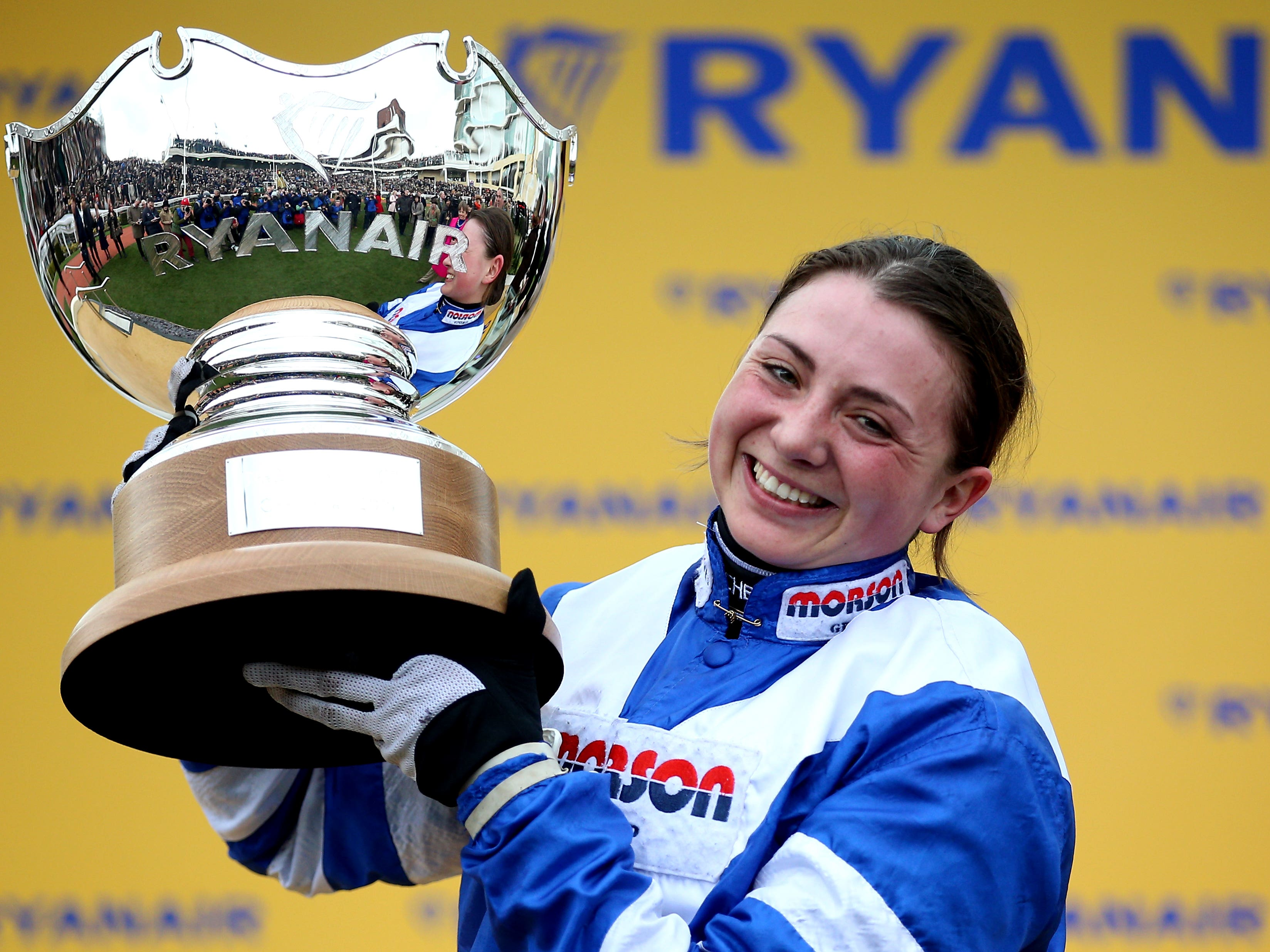 Bryony Frost celebrates victory in the Ryanair Chase aboard Frodon (Nigel French/PA)