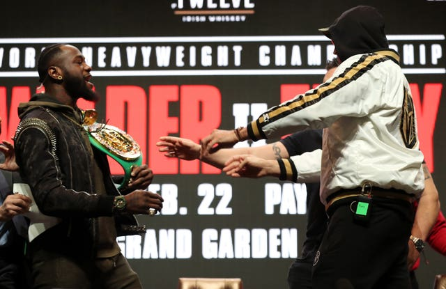 Deontay Wilder and Tyson Fury were involved in a shoving match at their Las Vegas press conference