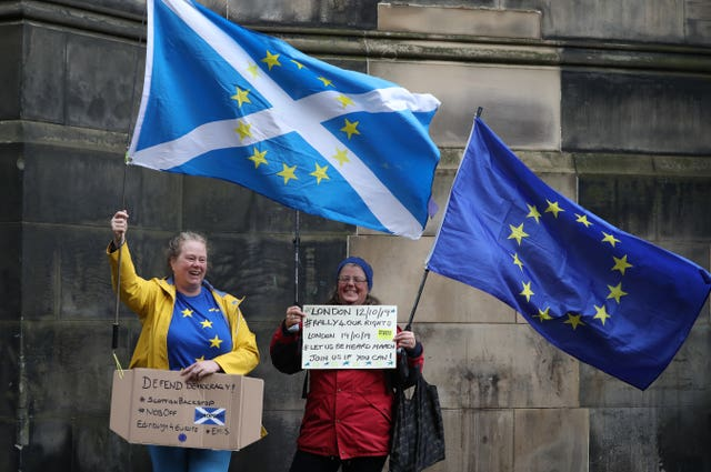 Remain Supporters at a Brexit court hearing at the Court of Session in Edinburgh