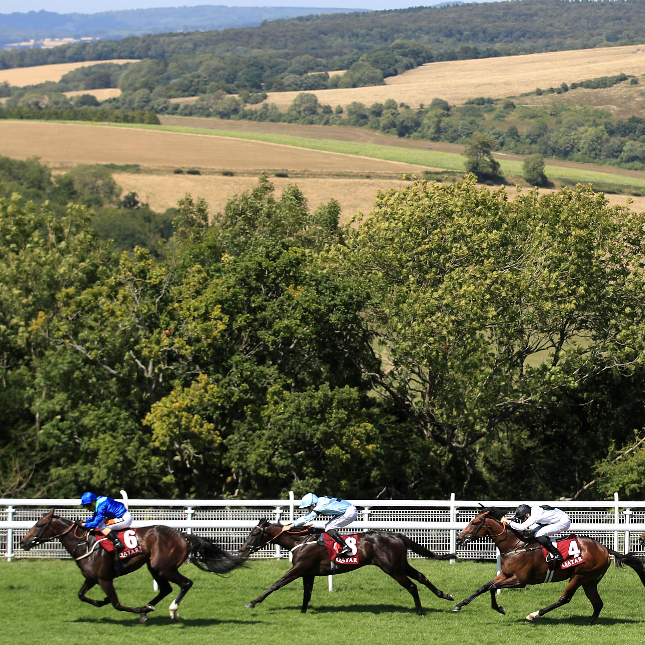 Dark Vision (left) comes home to win the Vintage Stakes at Goodwood