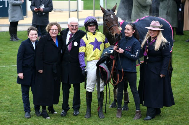 Jockey Richard Patrick and trainer Kerry Lee (right) celebrate 12 months ago