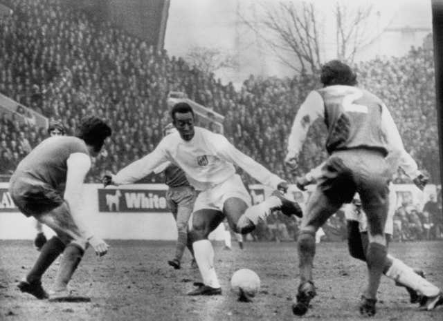 Pele (centre) during a club friendly game in which Brazilian club Santos beat Sheffield Wednesday 2-0 at Hillsborough