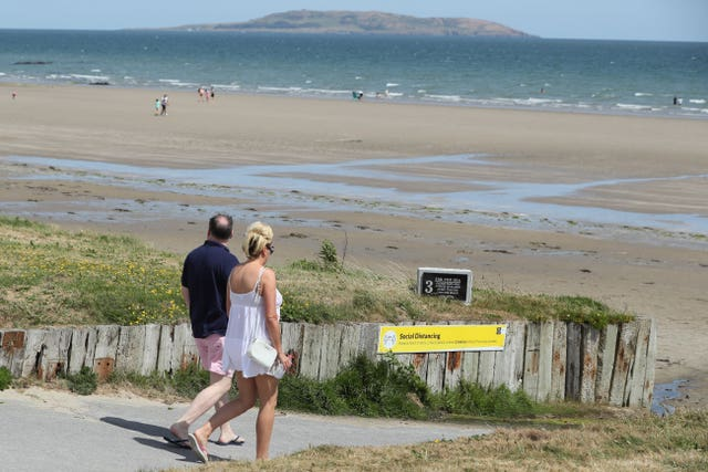 Portmarnock Beach in Dublin was one place where social distancing was possible (Brian Lawless/PA)