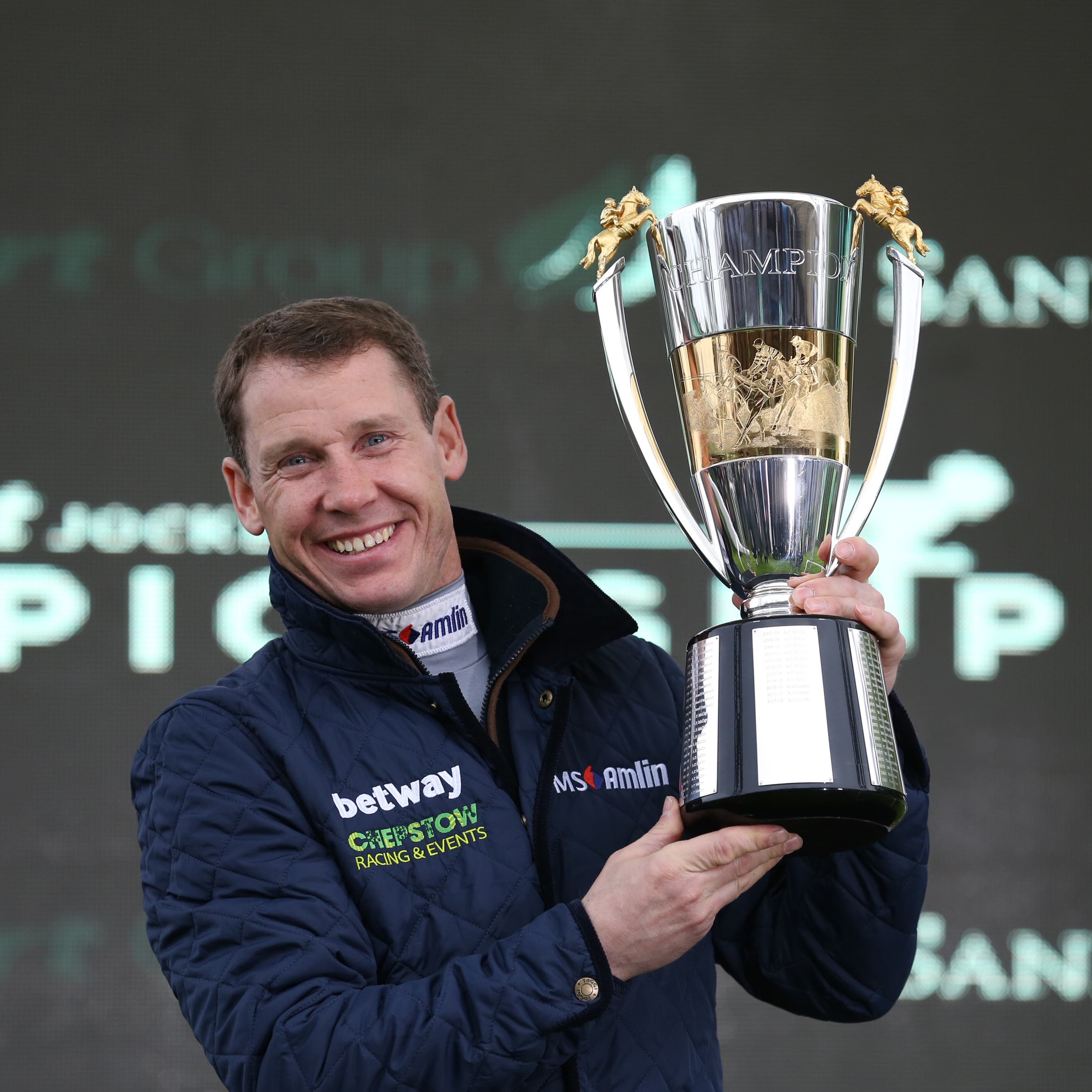 Richard Johnson after being crowned champion jockey for the third time at Sandown in April