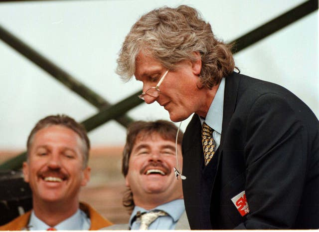 Willis with Ian Botham (left) and Alan Lamb (centre) at  Chesterfield Cricket ground in 1996