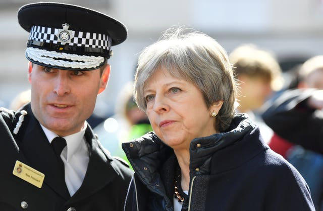 Theresa May with Wiltshire Chief Constable Kier Pritchard in Salisbury (Toby Melville/PA)