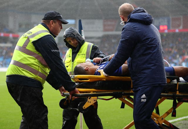 Lee Peltier was stretchered off during Cardiff's defeat