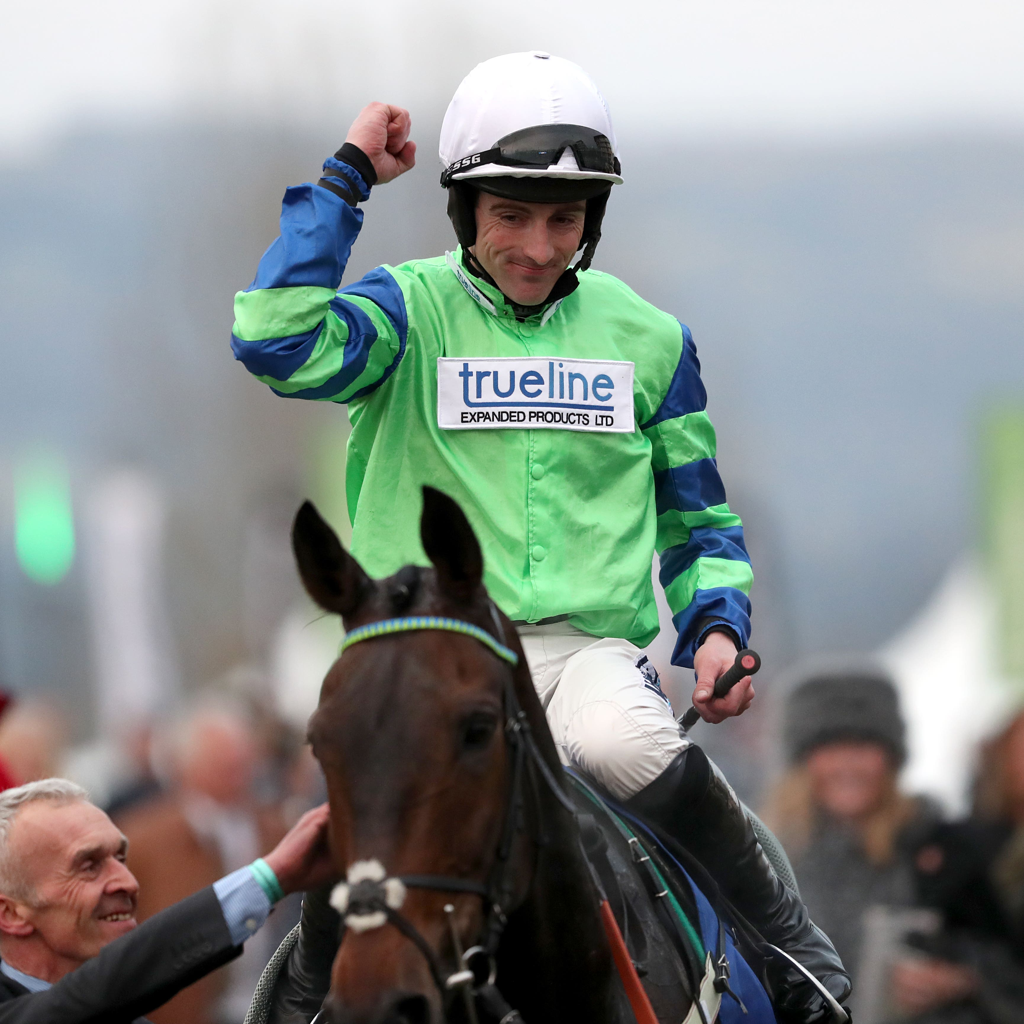 Brian Hughes celebrates after winning on Ballyalton at Cheltenham