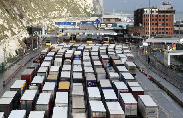 Lorries queuing at the Port of Dover in Kent in December