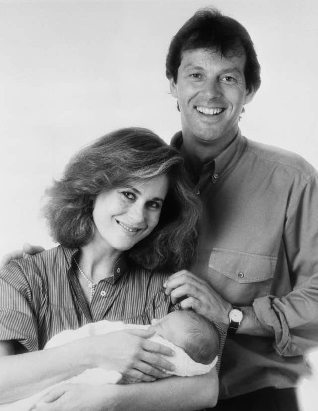 Leslie Grantham with his then wife Jane Laurie and their son (PA)