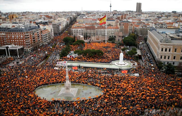 Thousands of demonstrators protest in Madrid