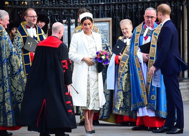 The Duke and Duchess of Sussex leave Westminster Abbey following the this year's Commonwealth Service. Victoria Jones/PA Wire