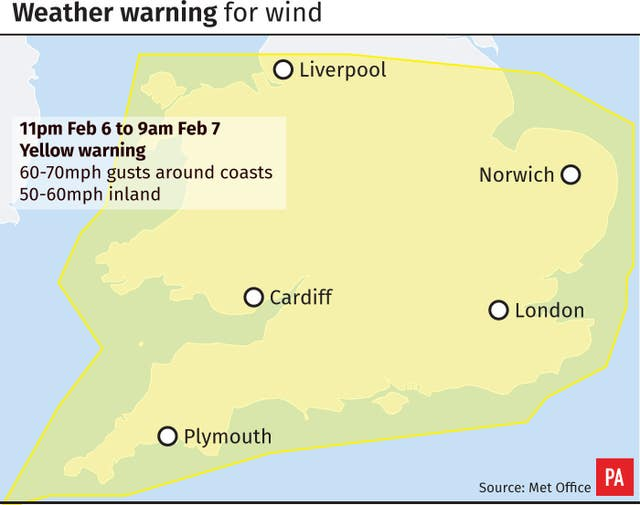 Weather warning for wind
