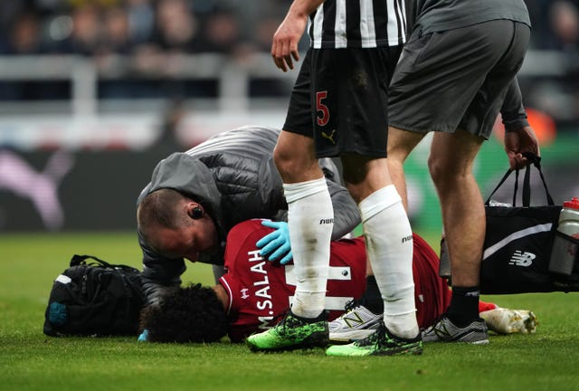 Mohamed Salah was injured against Newcastle at the weekend