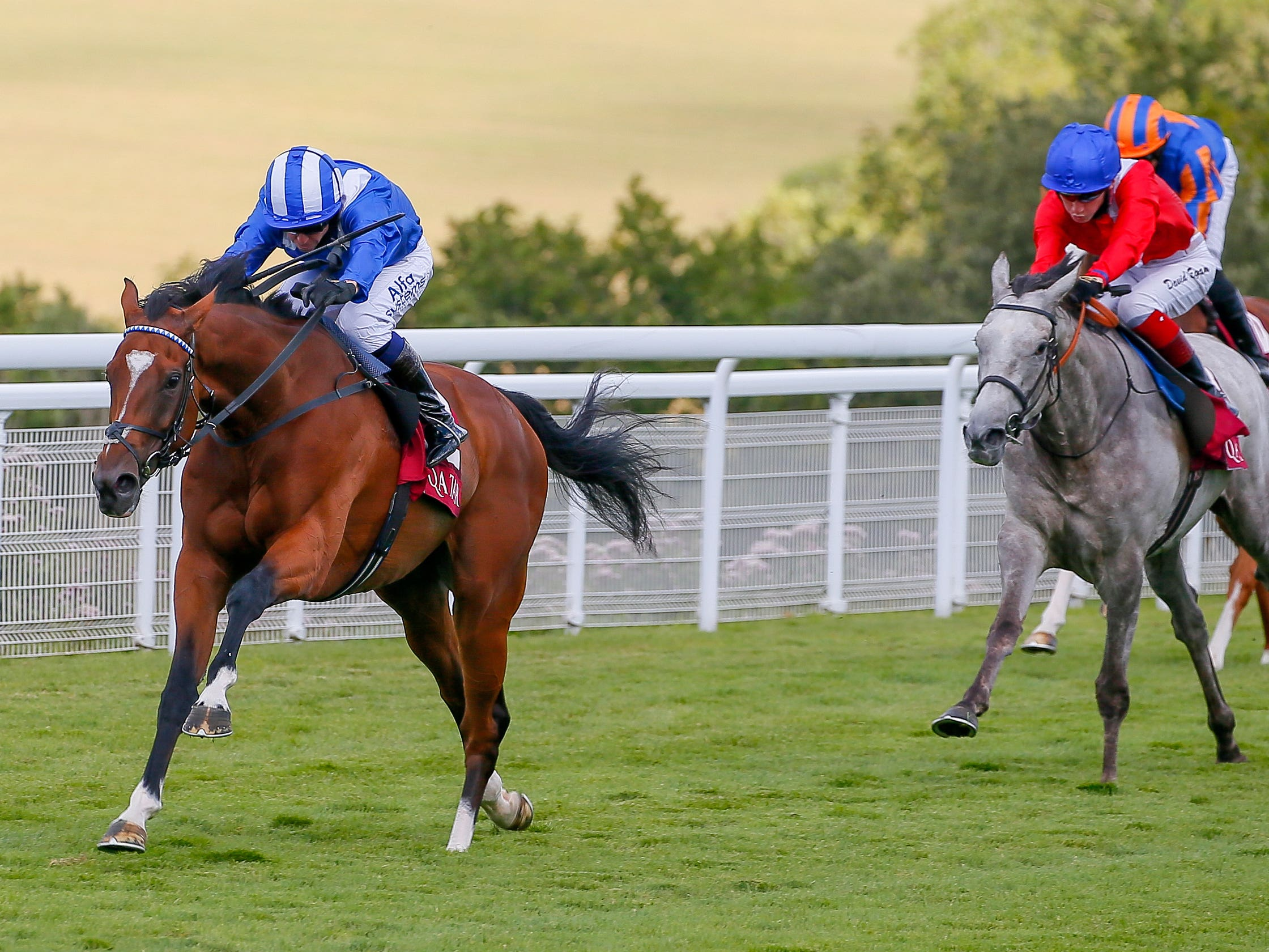 Enbihaar on her way to a smooth victory in the Qatar Lillie Langtry Stakes at Goodwood (Mark Cranham/PA)