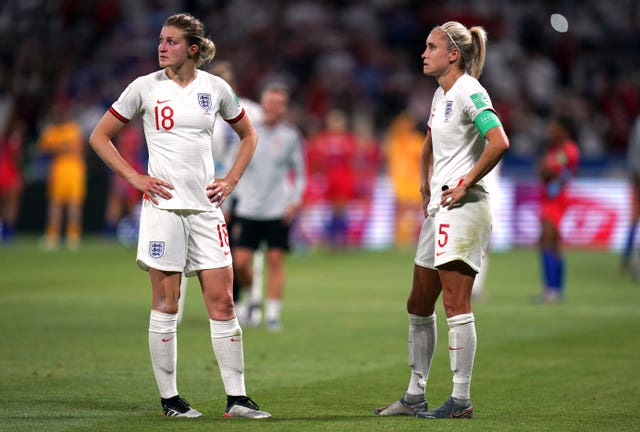 England captain Steph Houghton (right) had a late penalty saved in the World Cup semi-final loss to the United States (John Walton/PA).